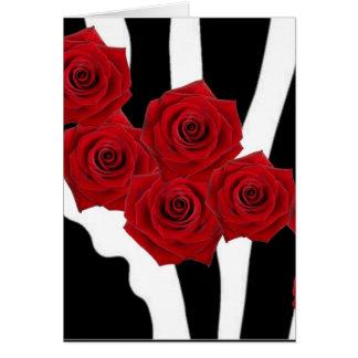 RED ROSES ON BLACK AND WHITE ZEBRA PRINT CARD