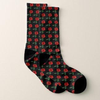 Red Roses on Black Pattern Socks 1