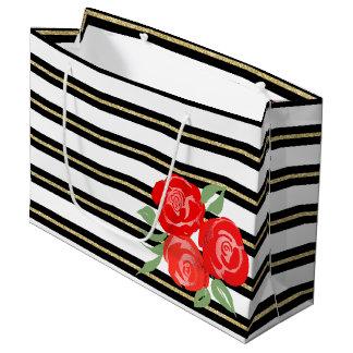 Red Roses on Black, White, Gold Gift Bag