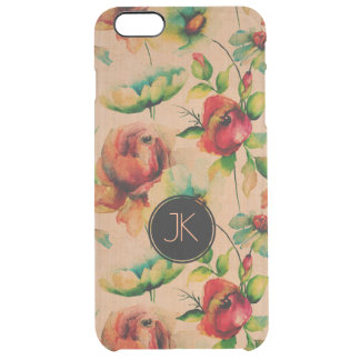 Red Roses On Blond Wood Background Clear iPhone 6 Plus Case