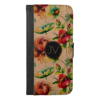 Red Roses On Blond Wood Texture iPhone 6/6s Plus Wallet Case