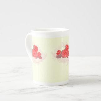 Red Roses on Vintage Cream Bone China Mug