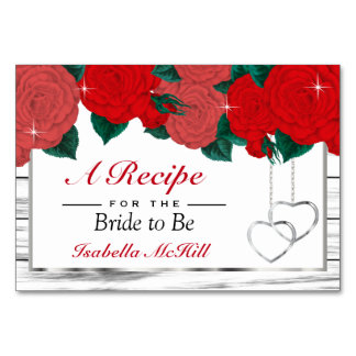 Red Roses on White Wood  Recipe Card