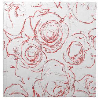 Red Roses Outlines Napkin