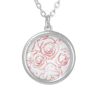 Red Roses Outlines Silver Plated Necklace