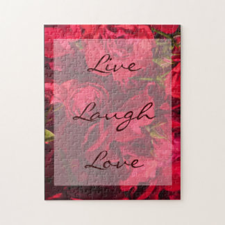 Red Roses Painting Live Laugh Love Puzzle