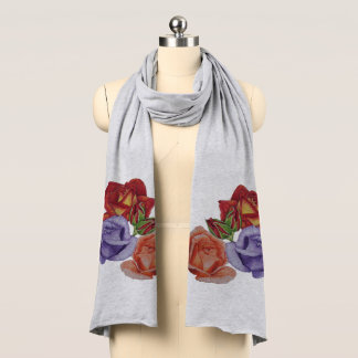 Red roses peach rose buds blue rose flower art scarf