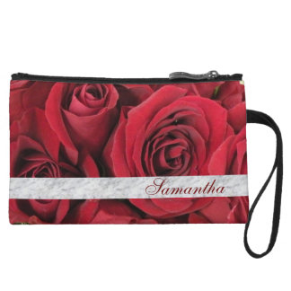 Red Roses Personalized Clutch Bag Wristlet Clutches