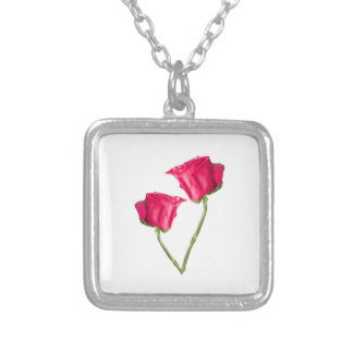 Red Roses Photo Silver Plated Necklace