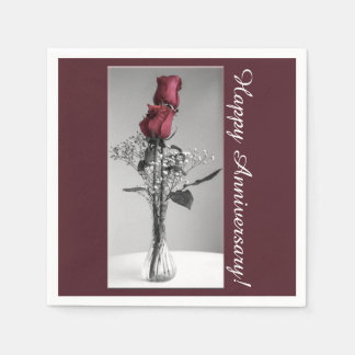 Red Roses Photograph | Happy Anniversary Paper Napkin