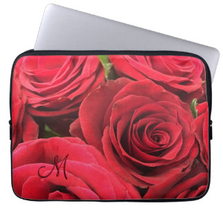 Red Roses Romantic Monogram Laptop Sleeve