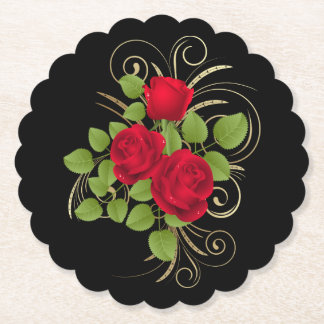 Red Roses Scalloped Round Paper Coaster