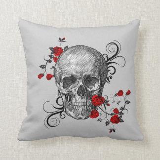 Red Roses Skull Pillow