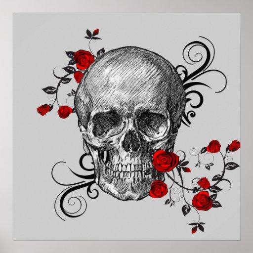 Red Roses Skull Poster