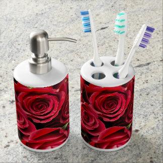 Red Roses Soap Dispenser And Toothbrush Holder