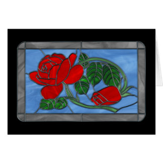 Red Roses Stained Glass Greeting Card