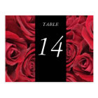 Red Roses Table Number Card