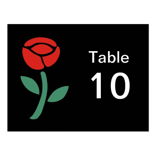 Red Roses Table Number Postcard