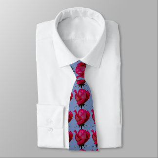red roses Thunder_Cove blue Tie