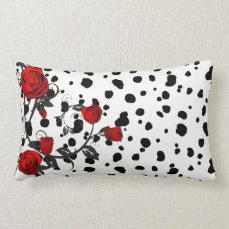 Red Roses Vine Dalmatian Print Lumbar Pillow
