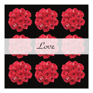 """Red Roses Vow Renewal 5.25"""" Square Invitation Card"""