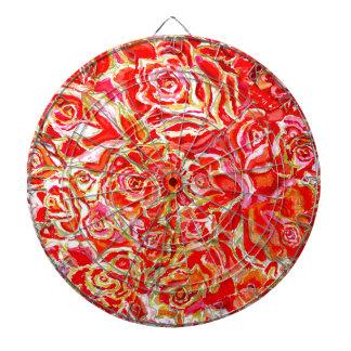Red Roses Watercolor Dartboard