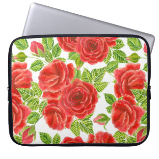 Red roses watercolor seamless pattern laptop sleeve
