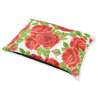 Red roses watercolor seamless pattern pet bed