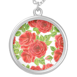 Red roses watercolor seamless pattern silver plated necklace