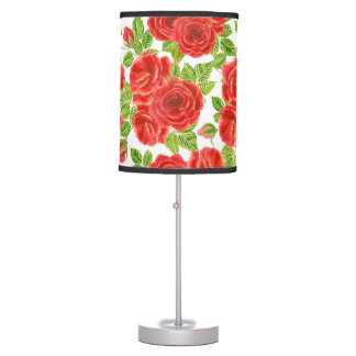 Red roses watercolor seamless pattern table lamp