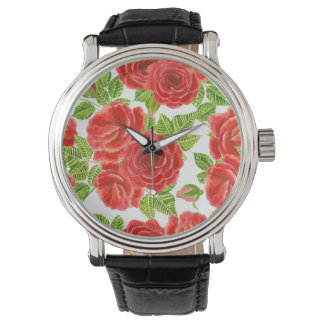 Red roses watercolor seamless pattern watch