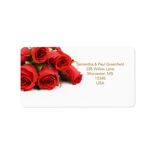 Red roses Wedding Address Avery Label