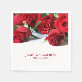Red Roses Wedding Napkin Paper Napkin