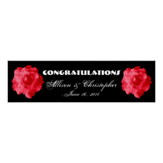 Red Roses Wedding or Engagement Banner Poster