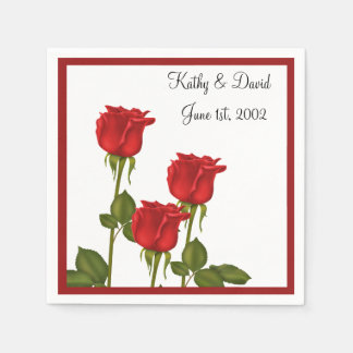 Red Roses (Wedding) Paper Napkin