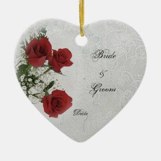 Red Roses Wedding Photo Frame Ceramic Ornament