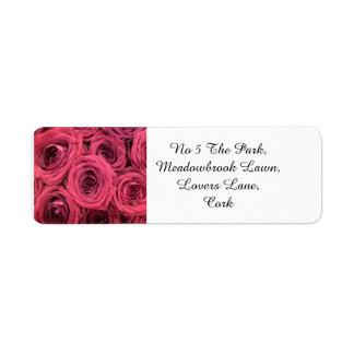 Red roses wedding theme return address labels