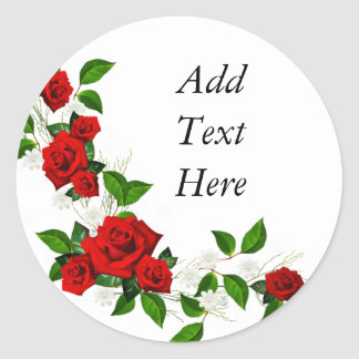 Red Roses white flowers customize Classic Round Sticker