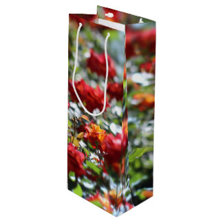 Red roses wine gift bag