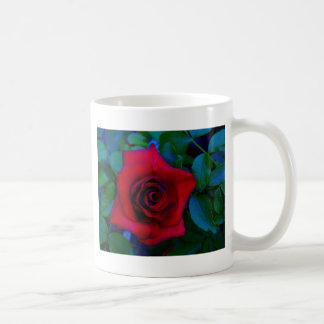 Red Roses with blue tones Classic White Coffee Mug