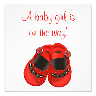Red Rosettes Baby Shoes Red Baby Girl Shower Personalized Announcements