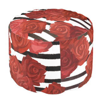 Red Rosy Style Pouf