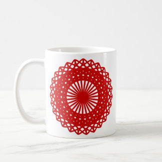 Red Round Lace Pattern Graphic. Coffee Mug