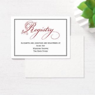 Red Royal Script Calligraphy Wedding Registry Card