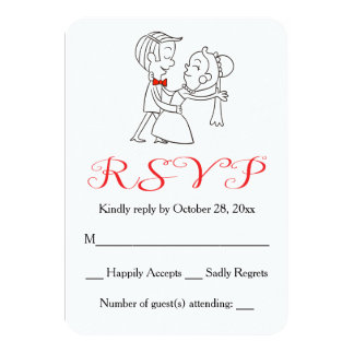 "Red RSVP Bride & Groom Black And White Wedding 3.5"" X 5"" Invitation Card"