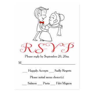 Red RSVP Bride & Groom Black And White Wedding Postcard