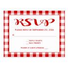 Red RSVP Gingham Plaid Checks Wedding Postcard