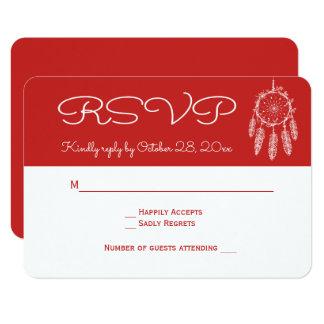 Red RSVP Native American Dream Catcher Wedding Card