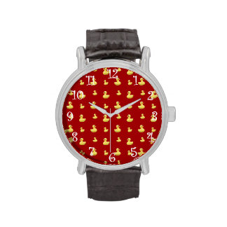 Red rubber duck pattern wrist watches