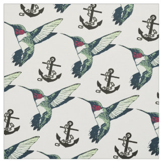 Red ruby throated hummingbird anchor Fabric